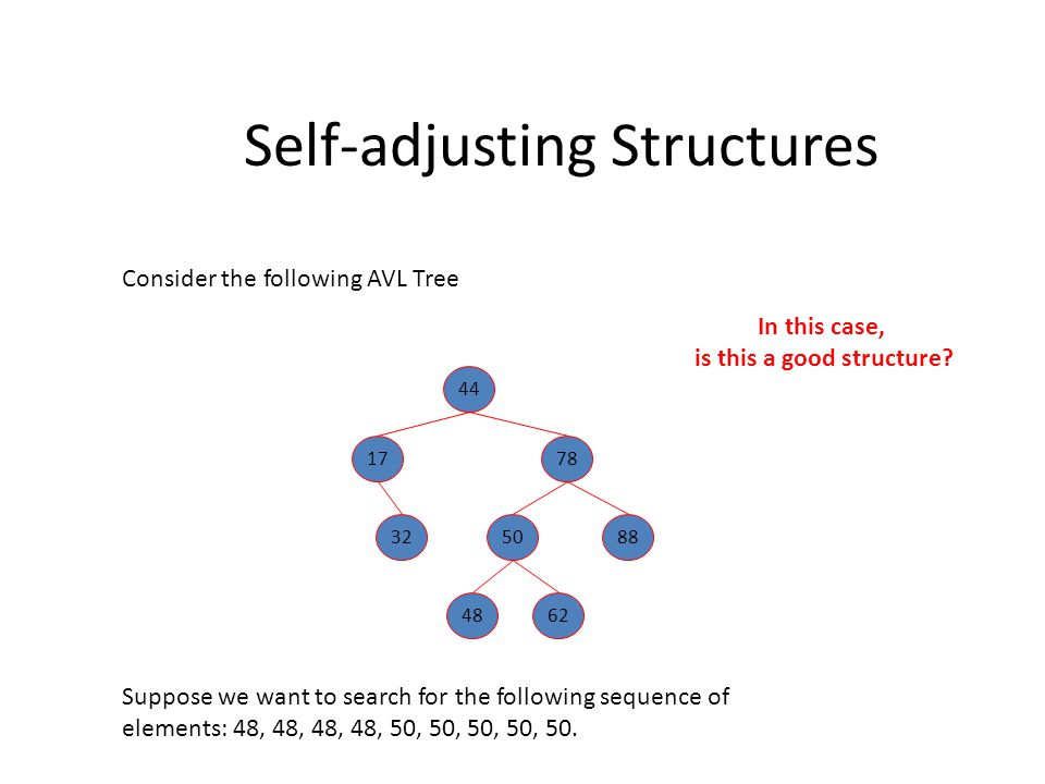 Self-adjusting Structures So far we have seen: BST: binary search trees – Worst-case running time per operation = O(N) – Worst case average running time = O(N) » Think about inserting a sorted item list AVL tree: – Worst-case running time per operation = O(logN) – Worst case average running time = O(logN) – Does not adapt to skew distributions
