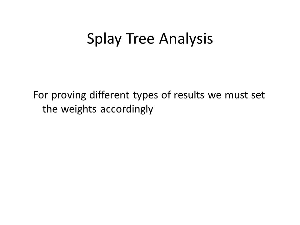 Splay Tree Analysis For proving different types of results we must set the weights accordingly