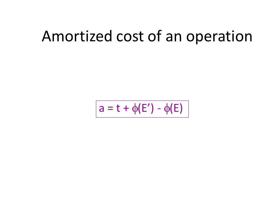 Amortized cost of an operation a = t + (E) - (E)