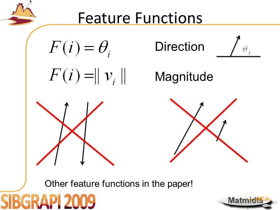 Feature Functions Direction Magnitude Other feature functions in the paper!
