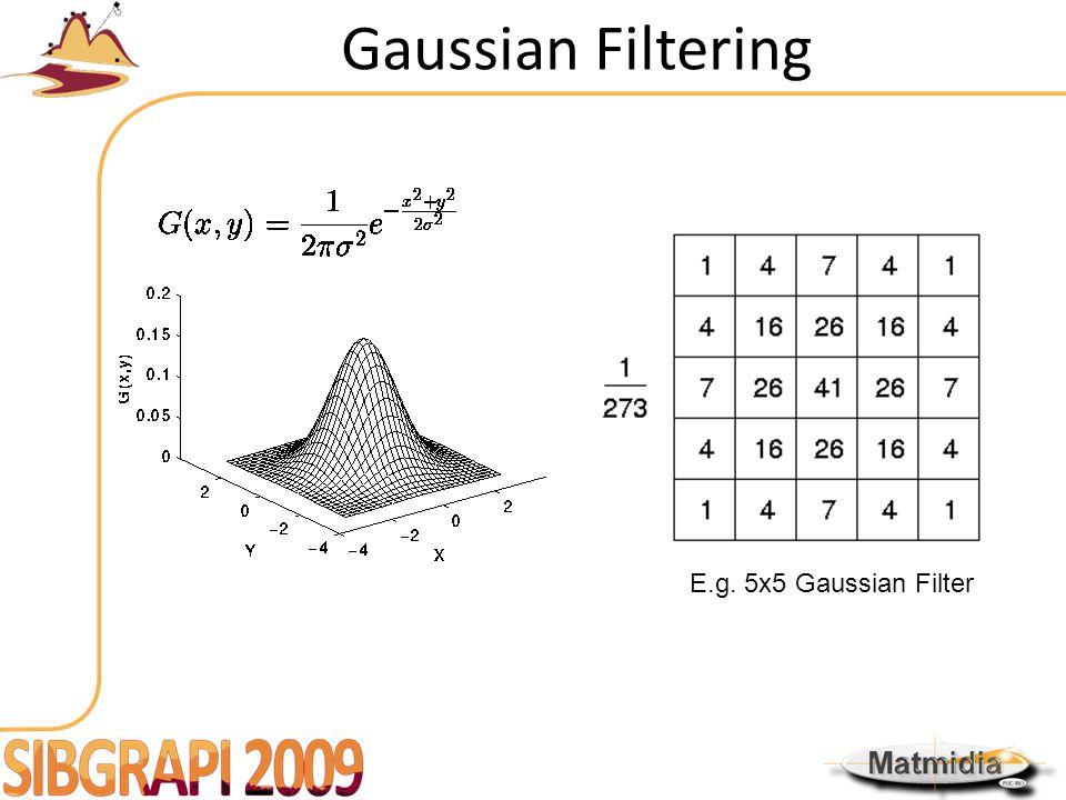 Gaussian Filtering E.g. 5x5 Gaussian Filter