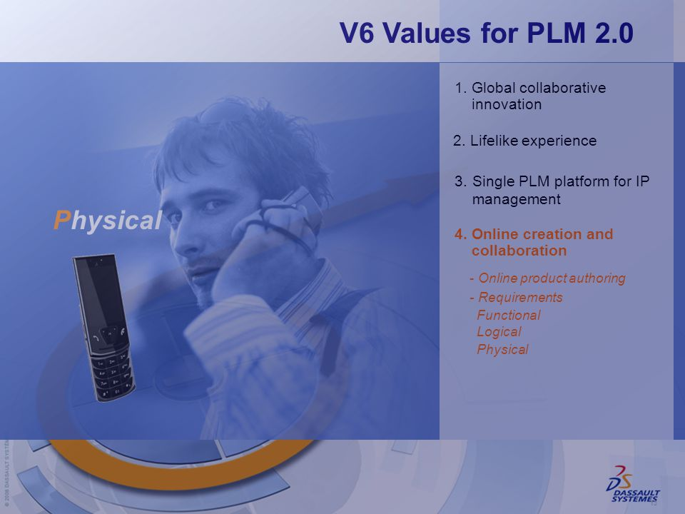 13 2.Lifelike experience 4.Online creation and collaboration 3.Single PLM platform for IP management 1.Global collaborative innovation -Online product authoring Physical V6 Values for PLM 2.0 Physical Logical Functional -Requirements