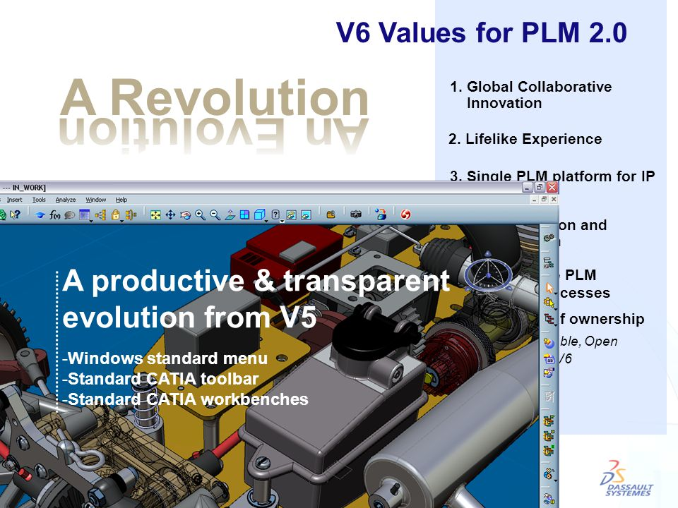 V6 Values for PLM Global Collaborative Innovation 2.Lifelike Experience 4.Online creation and collaboration 5.Ready to use PLM business processes 6.Lower cost of ownership 3.Single PLM platform for IP Management -Simple, Scalable, Open -Easy path to V6 DASSAULT SYSTEMES CONFIDENTIAL A Revolution A productive & transparent evolution from V5 -Windows standard menu -Standard CATIA toolbar -Standard CATIA workbenches
