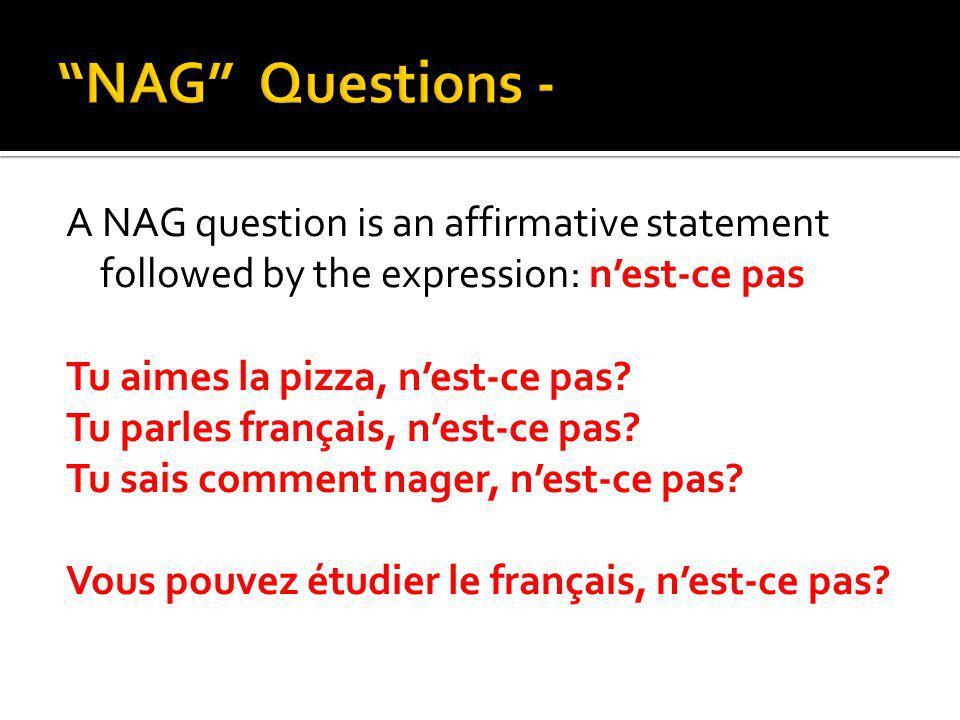 A NAG question is an affirmative statement followed by the expression: nest-ce pas Tu aimes la pizza, nest-ce pas? Tu parles français, nest-ce pas? Tu
