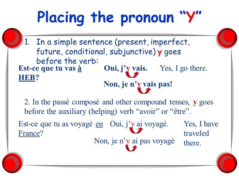 Placing the pronoun Y 3.In a positive command the y goes after the verb: Est-ce que je dois aller à Klein Collins.