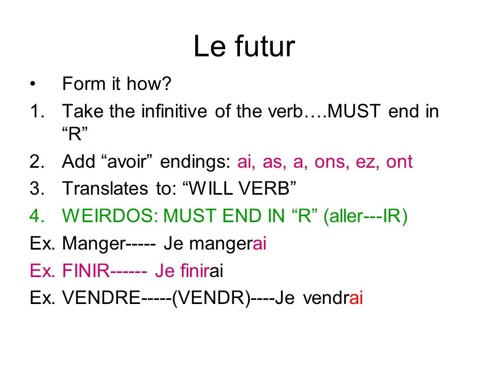 Le conditionnel-WOULD VERB How do you form it.