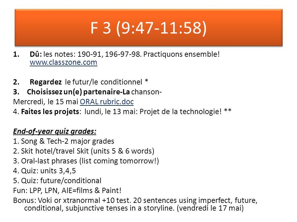 F 3 (9:47-11:58) 1.Dû: les notes: 190-91, 196-97-98.