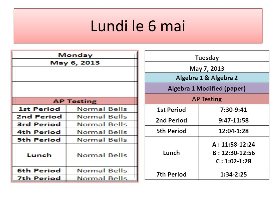 Thursday May 9, 2013 World History World Geog Mod (paper) & World Hist Mod (paper) AP Testing 7th Period7:30-9:41 6th Period9:47-11:58 5th Period12:04-1:28 Lunch A : 11:58-12:24 B : 12:30-12:56 C : 1:02-1:28 4th Period1:34-2:25
