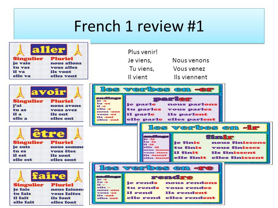 French 1 review #1 Plus venir! Je viens, Nous venons Tu viens, Vous venez Il vient Ils viennent