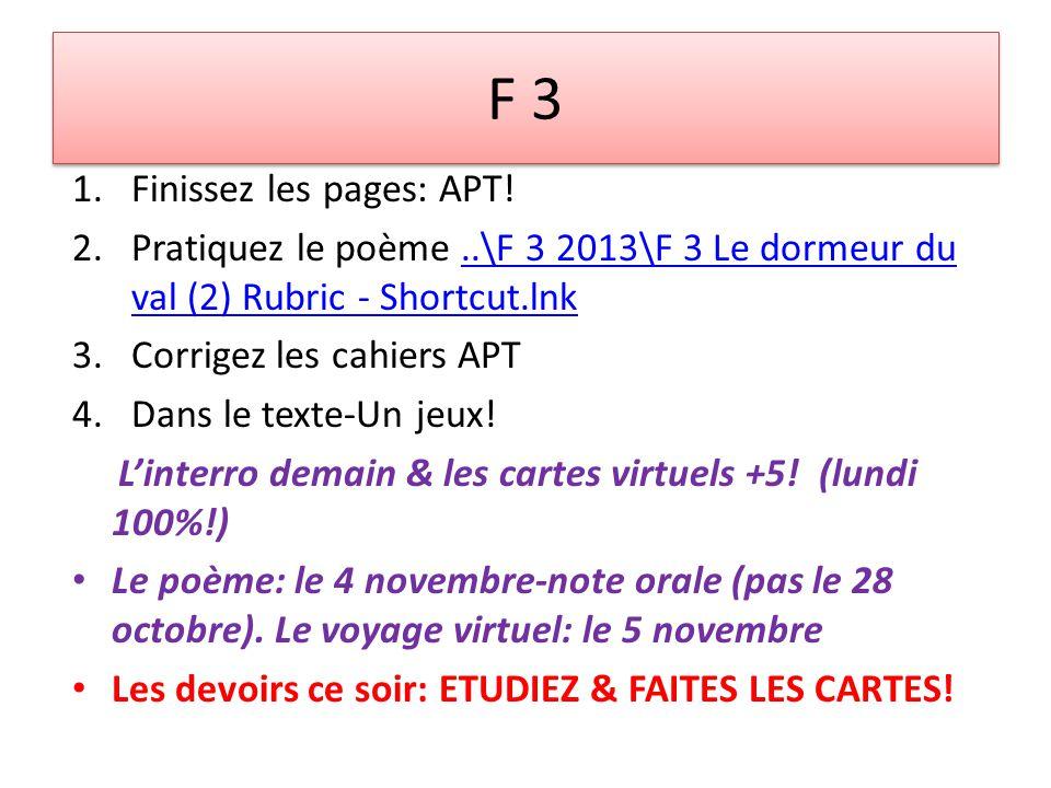 F 3 1.Finissez les pages: APT.