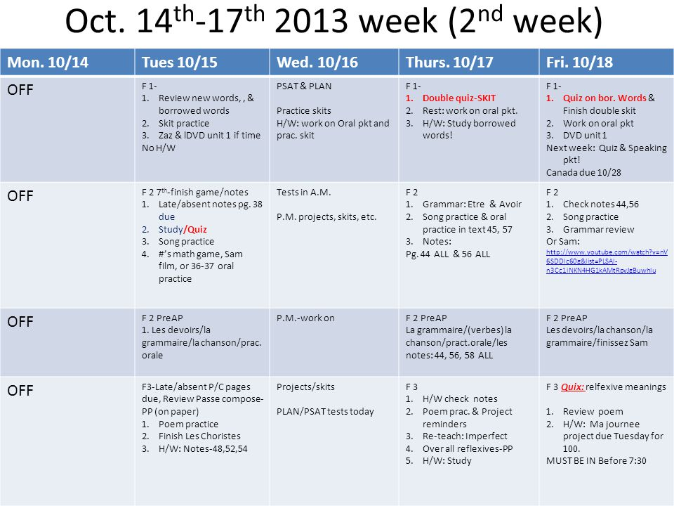 Oct. 14 th -17 th 2013 week (2 nd week) Mon. 10/14Tues 10/15Wed.
