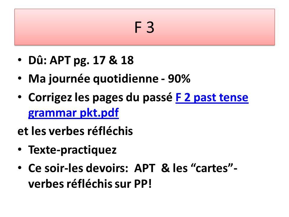 F 3 Dû: APT pg.