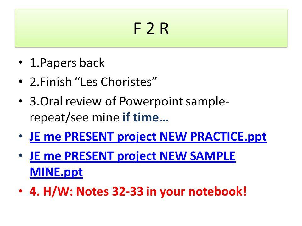 F 2 PreAP 1.Les papiers/le film 2.