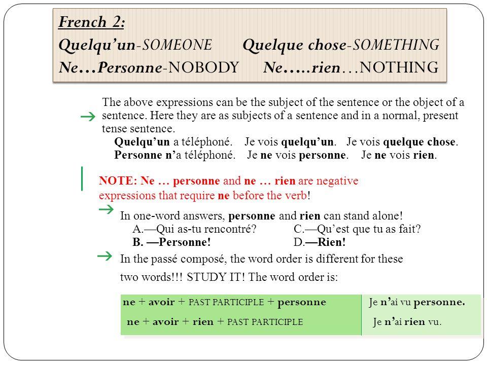 French 1 (le français I) Notes: pg.