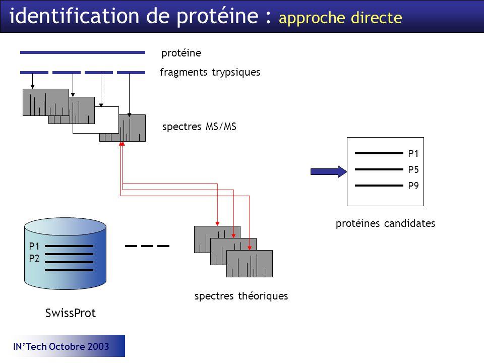 INTech Octobre 2003 identification de protéine : approche directe protéine fragments trypsiques spectres MS/MS SwissProt P1 P2 spectres théoriques P1 P5 P9 protéines candidates