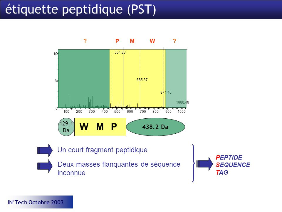INTech Octobre 2003 Un court fragment peptidique Deux masses flanquantes de séquence inconnue PEPTIDE SEQUENCE TAG WMP P M W ? ? 438.2 Da 129.1 Da éti