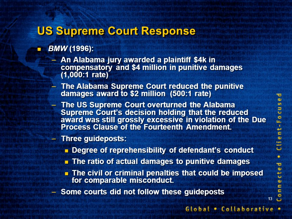 13 US Supreme Court Response BMW (1996): –An Alabama jury awarded a plaintiff $4k in compensatory and $4 million in punitive damages (1,000:1 rate) –T
