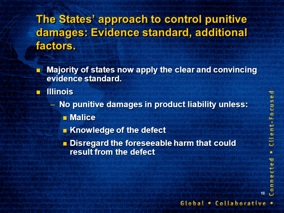 18 The States approach to control punitive damages: Evidence standard, additional factors. Majority of states now apply the clear and convincing evide