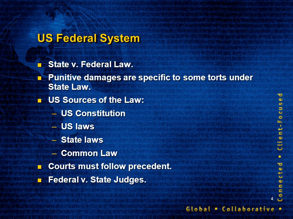 4 US Federal System State v. Federal Law. Punitive damages are specific to some torts under State Law. US Sources of the Law: –US Constitution –US law