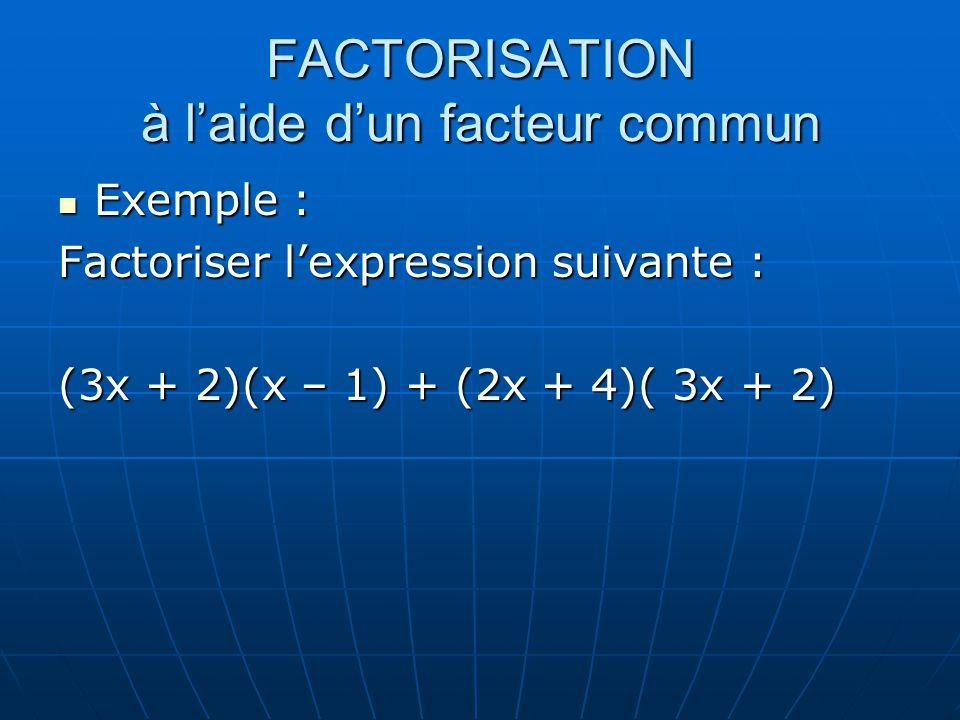 FACTORISATION à laide dun facteur commun Exemple : Exemple : Factoriser lexpression suivante : (3x + 2)(x – 1) + (2x + 4)( 3x + 2)