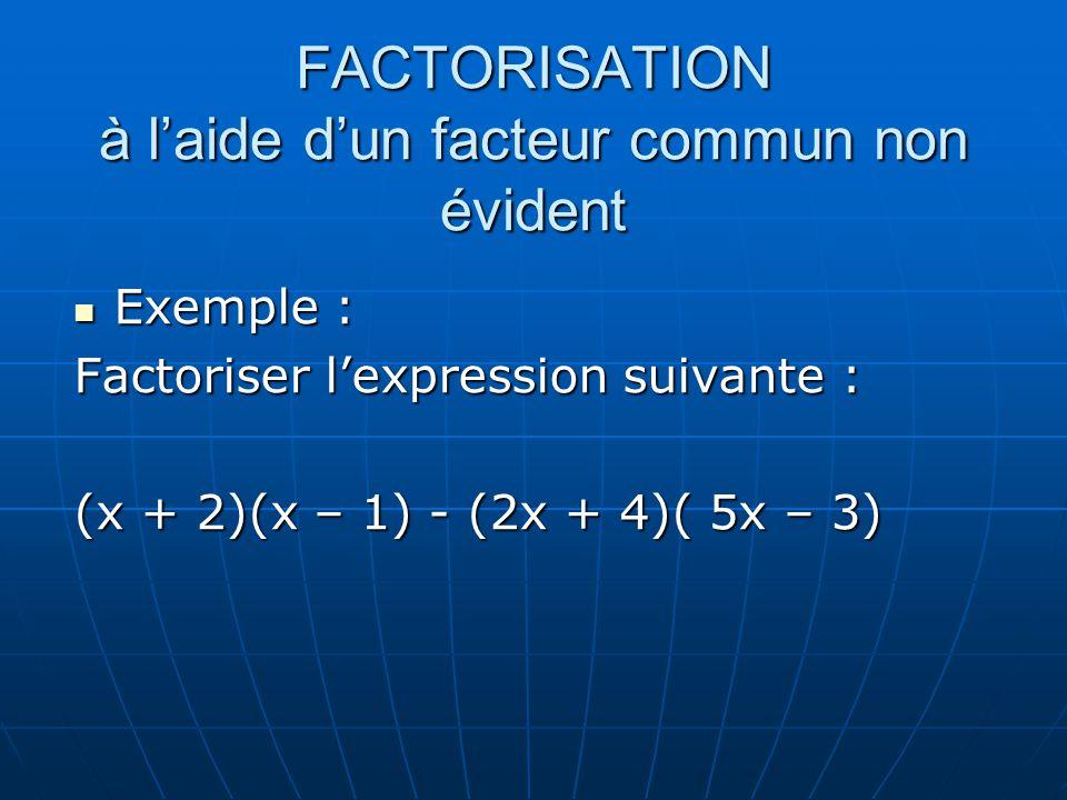 FACTORISATION à laide dun facteur commun non évident Exemple : Exemple : Factoriser lexpression suivante : (x + 2)(x – 1) - (2x + 4)( 5x – 3)