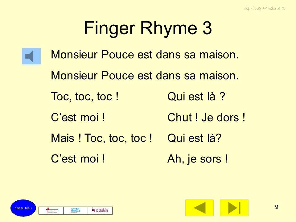 9 Finger Rhyme 3 Monsieur Pouce est dans sa maison.