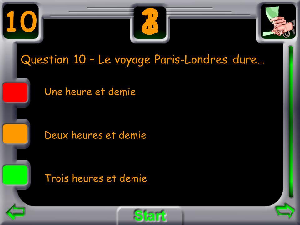 Question 10 – Le voyage Paris-Londres dure… Une heure et demie Deux heures et demie Trois heures et demie 10 3 21