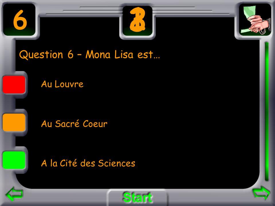 Question 6 – Mona Lisa est… Au Louvre Au Sacré Coeur A la Cité des Sciences 6 3 21