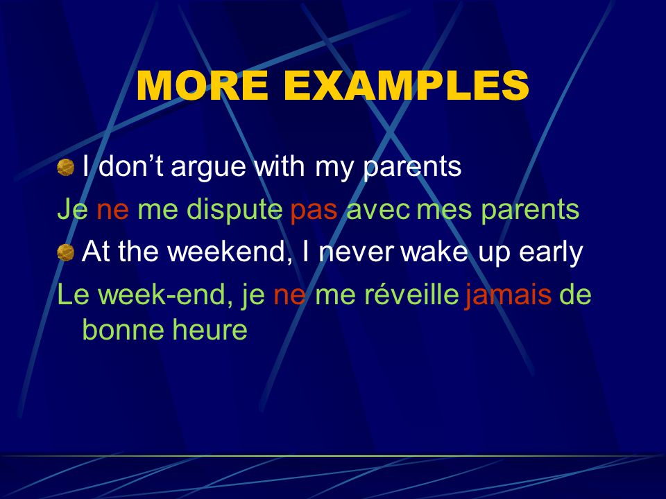 EXAMPLE Je ne mentends pas bien avec ma soeur first part of the negation Reflexive pronoun