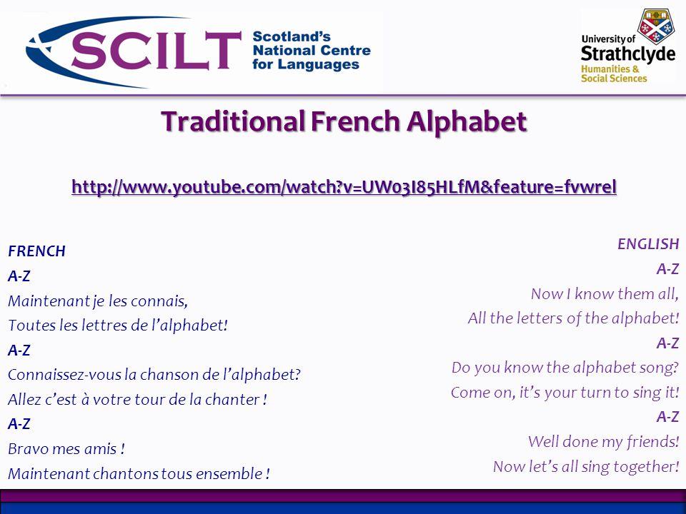 Traditional French Alphabet http://www.youtube.com/watch?v=UW03I85HLfM&feature=fvwrel http://www.youtube.com/watch?v=UW03I85HLfM&feature=fvwrel FRENCH A-Z Maintenant je les connais, Toutes les lettres de lalphabet.
