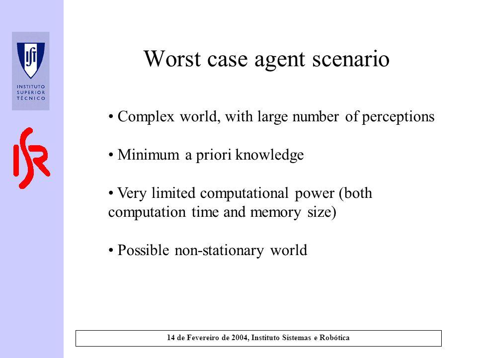14 de Fevereiro de 2004, Instituto Sistemas e Robótica Worst case agent scenario Complex world, with large number of perceptions Minimum a priori know