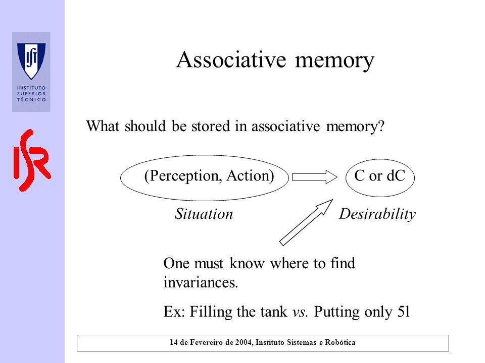 14 de Fevereiro de 2004, Instituto Sistemas e Robótica Associative memory What should be stored in associative memory? (Perception, Action)C or dC Sit