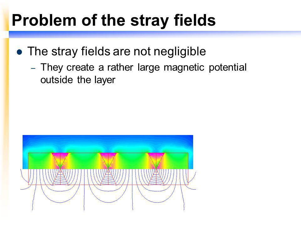 Problem of the stray fields The stray fields are not negligible – They create a rather large magnetic potential outside the layer