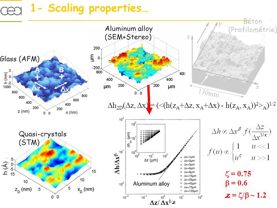 Béton (Profilométrie) Glass (AFM) Aluminum alloy (SEM+Stereo) Quasi-crystals (STM) Δh 2D (Δz, Δx) = ( A ) 1/2 AB ΔxΔx ΔzΔz 130mm = 0.75 = 0.6 z = / ~ 1.2 h/ x z/ x 1/ z h (Å) 1- Scaling properties…