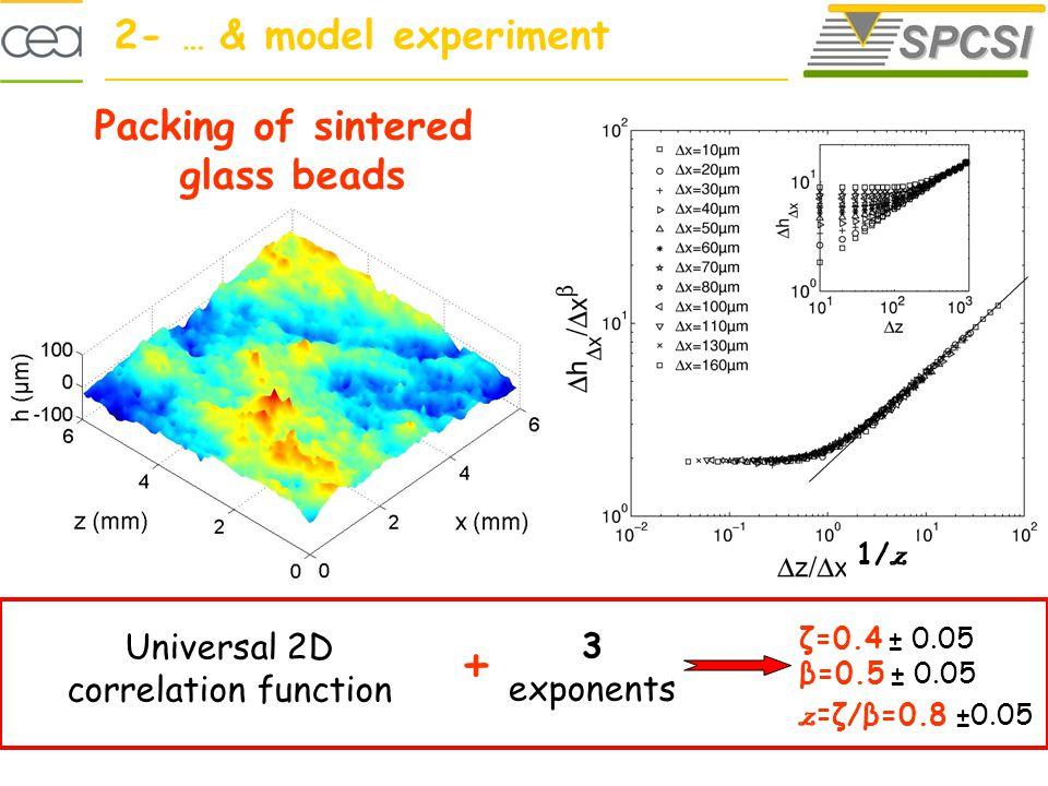 ζ=0.4 ± 0.05 β=0.5 ± 0.05 z =ζ/β=0.8 ±0.05 3 exponents Universal 2D correlation function + Structure 2D Packing of sintered glass beads 1/ z 2- … & model experiment