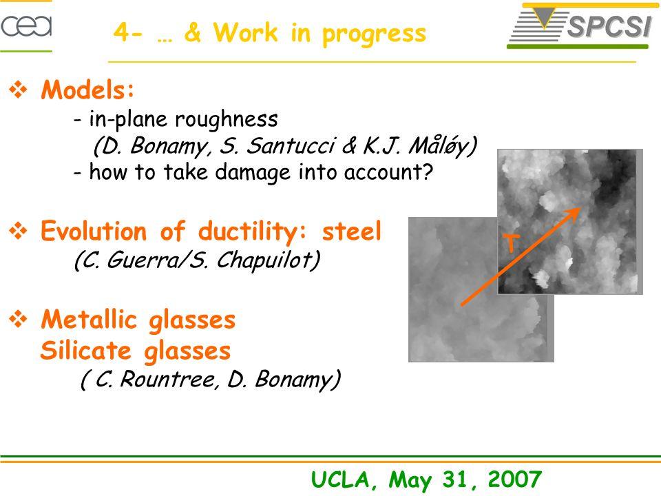 Models: - in-plane roughness (D. Bonamy, S. Santucci & K.J.