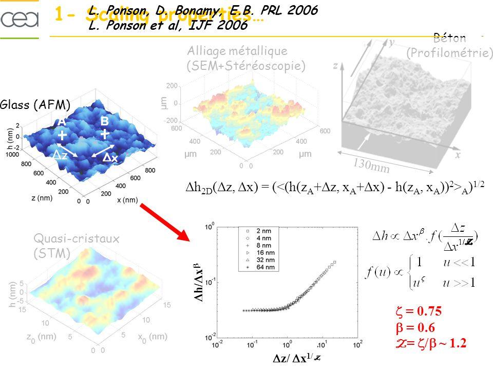Béton (Profilométrie) Glass (AFM) Alliage métallique (SEM+Stéréoscopie) Quasi-cristaux (STM) 130mm 1- Scaling properties… Δh 2D (Δz, Δx) = ( A ) 1/2 h (nm) z (nm) AB ΔxΔx ΔzΔz L.