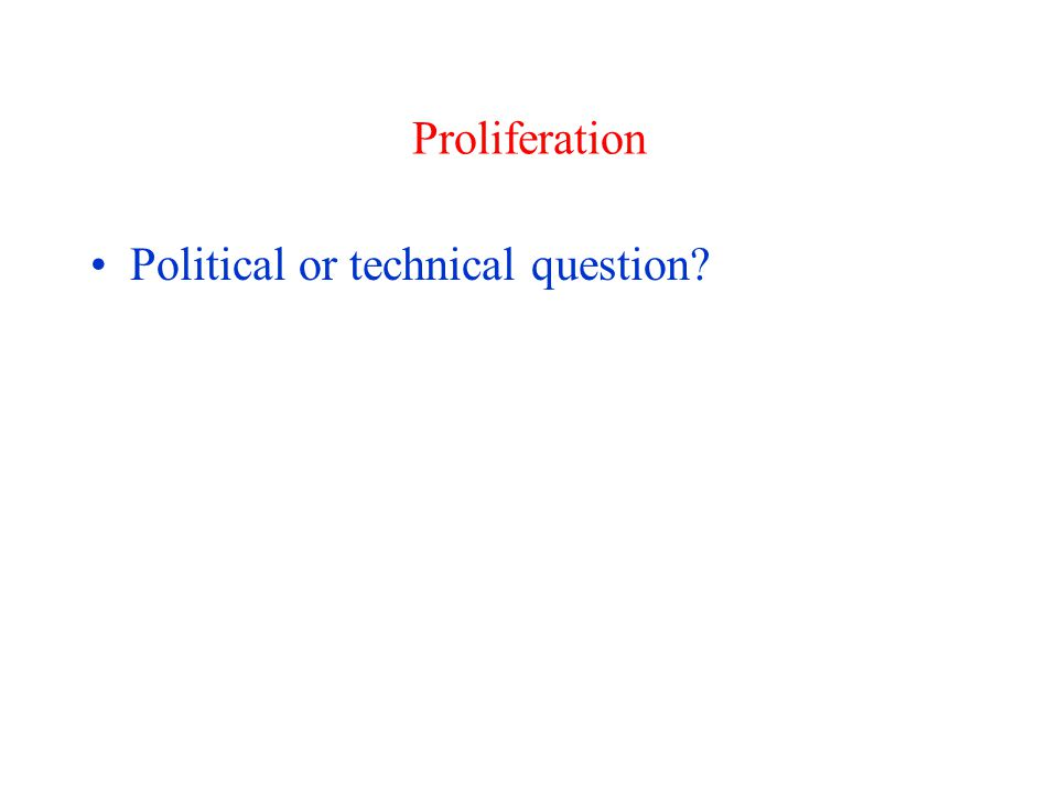 Proliferation Political or technical question?