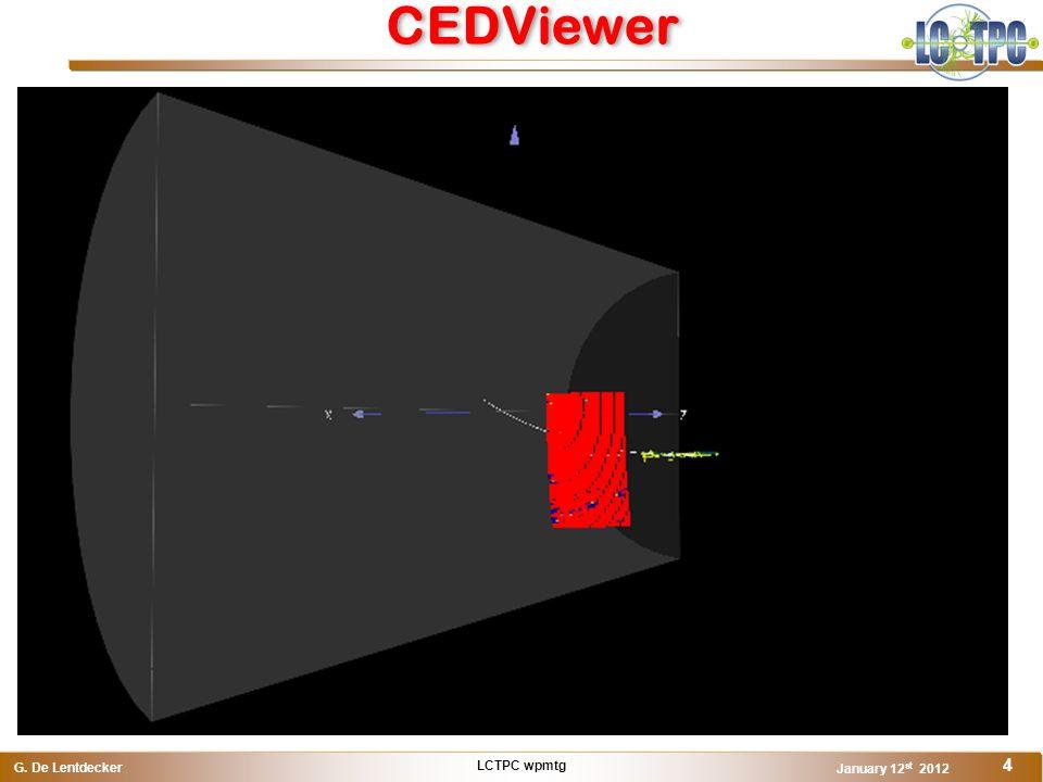 LCTPC wpmtg G. De Lentdecker January 12 st 2012 4 CEDViewer