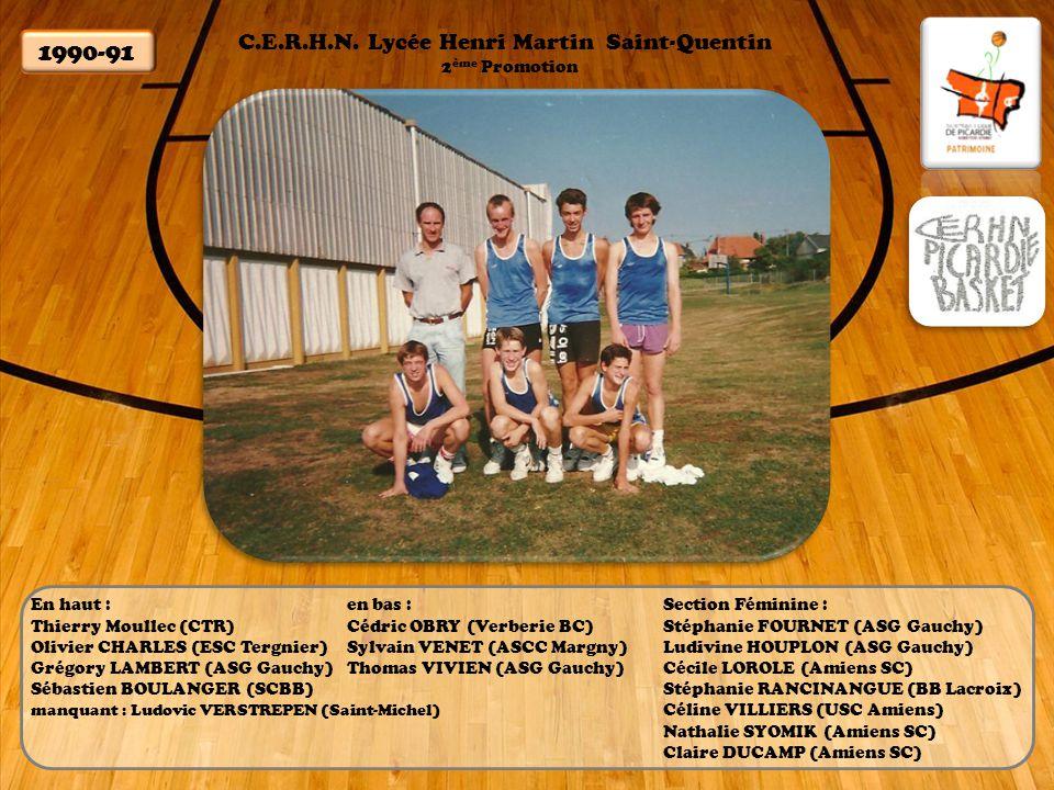 C.E.R.H.N. Lycée Henri Martin Saint-Quentin 1991-92