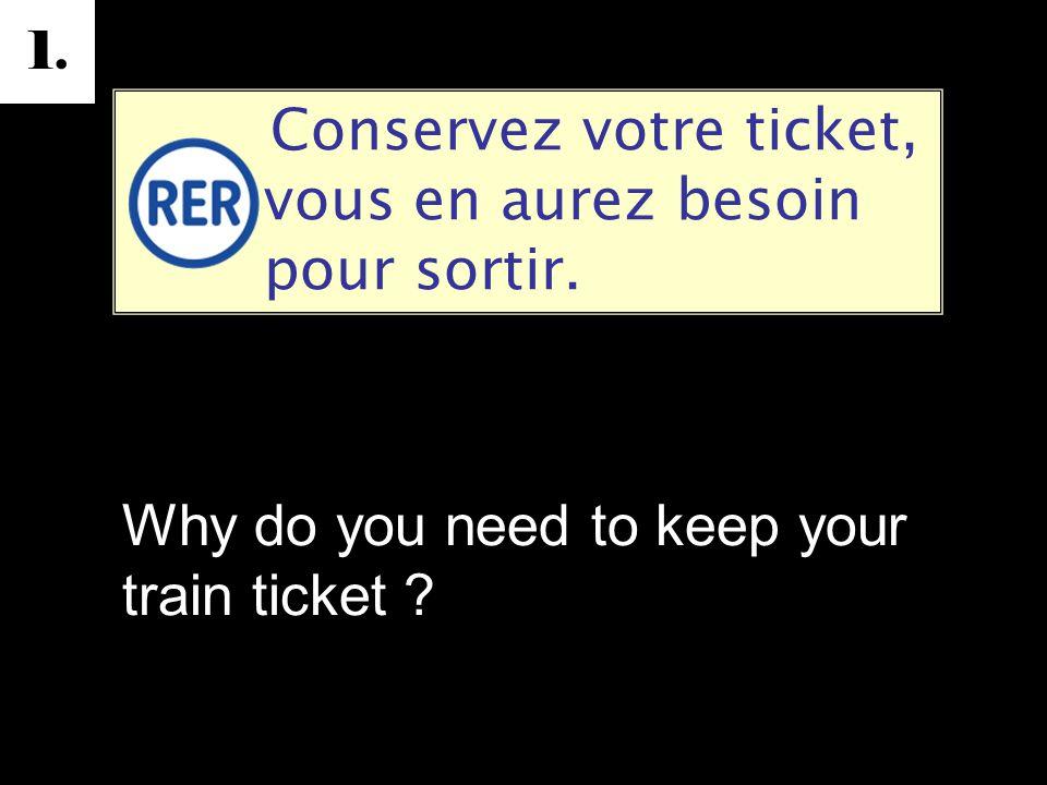 1. Conservez votre ticket, vous en aurez besoin pour sortir.