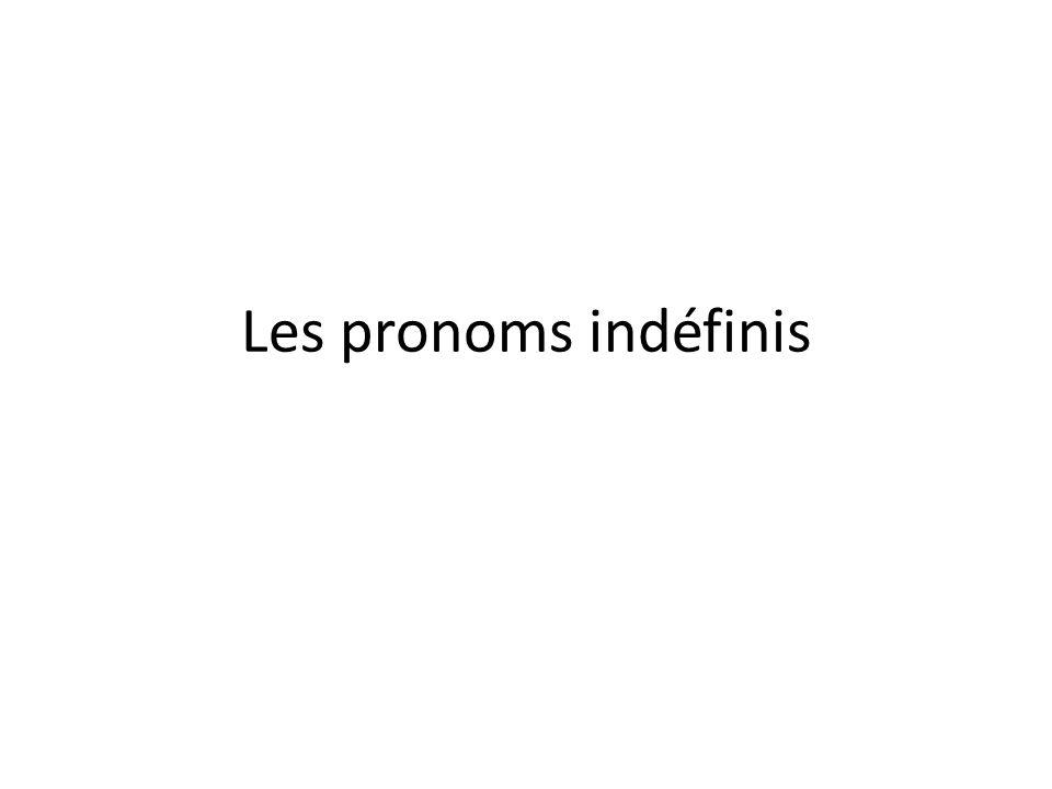 Les pronoms indéfinis