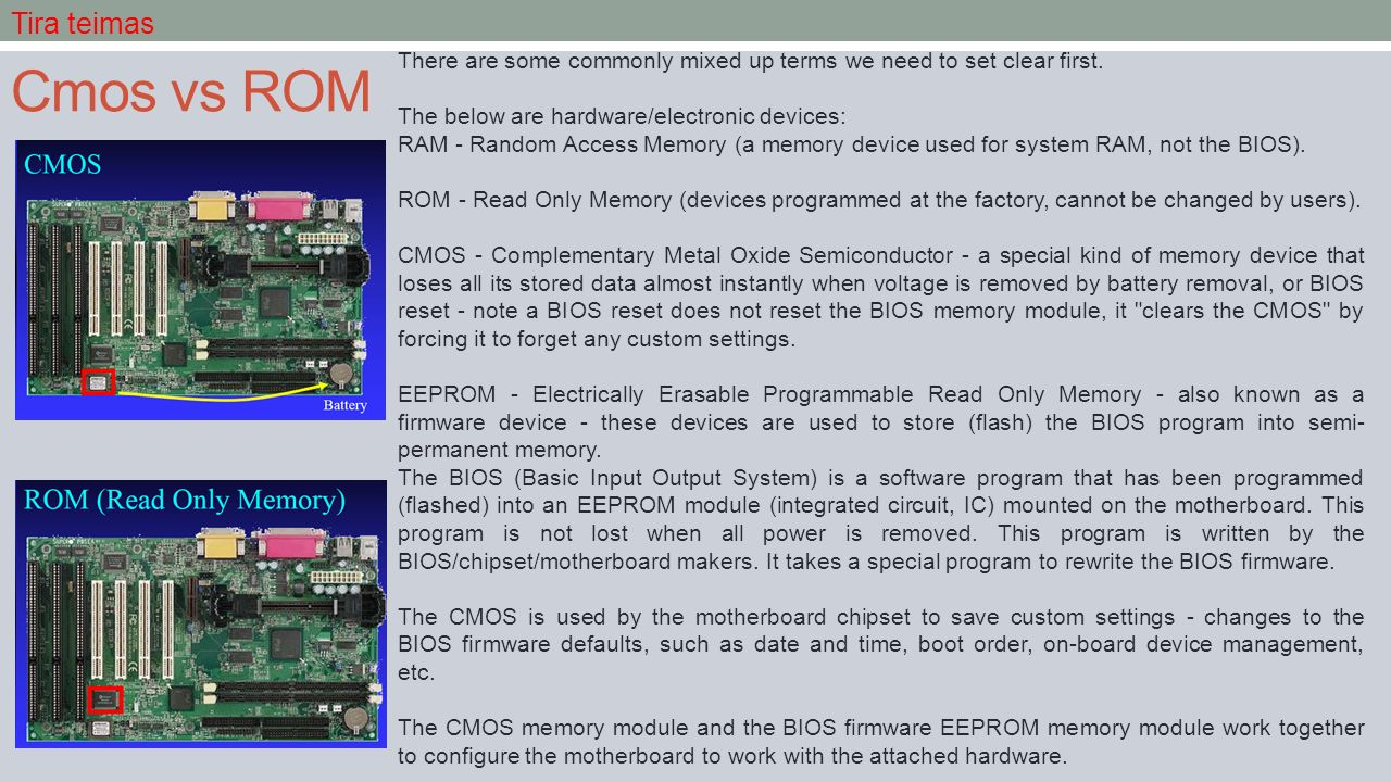 Cmos vs ROM There are some commonly mixed up terms we need to set clear first.