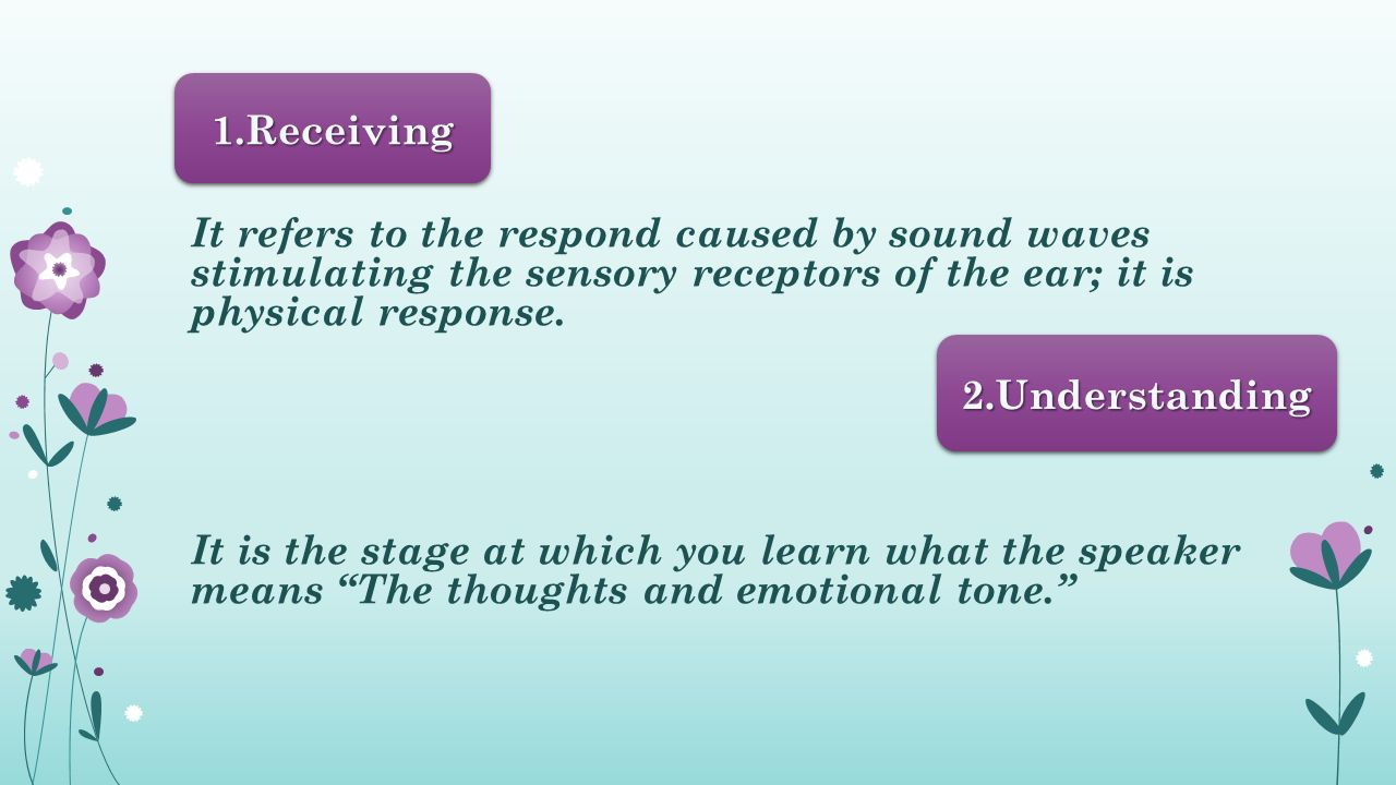 It refers to the respond caused by sound waves stimulating the sensory receptors of the ear; it is physical response.