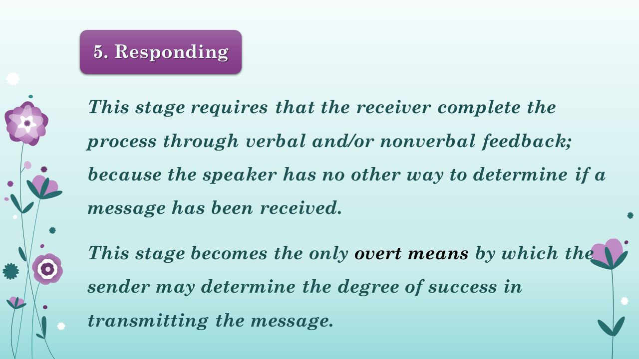 This stage requires that the receiver complete the process through verbal and/or nonverbal feedback; because the speaker has no other way to determine if a message has been received.