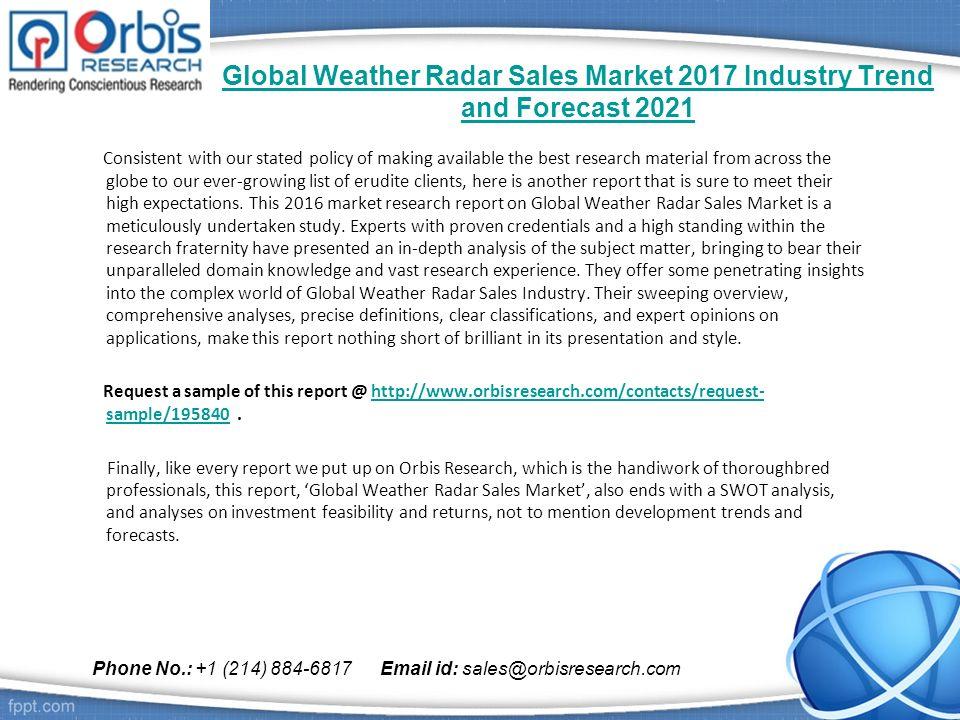 Global Weather Radar Sales Market Industry Trend And Forecast - Global weather radar