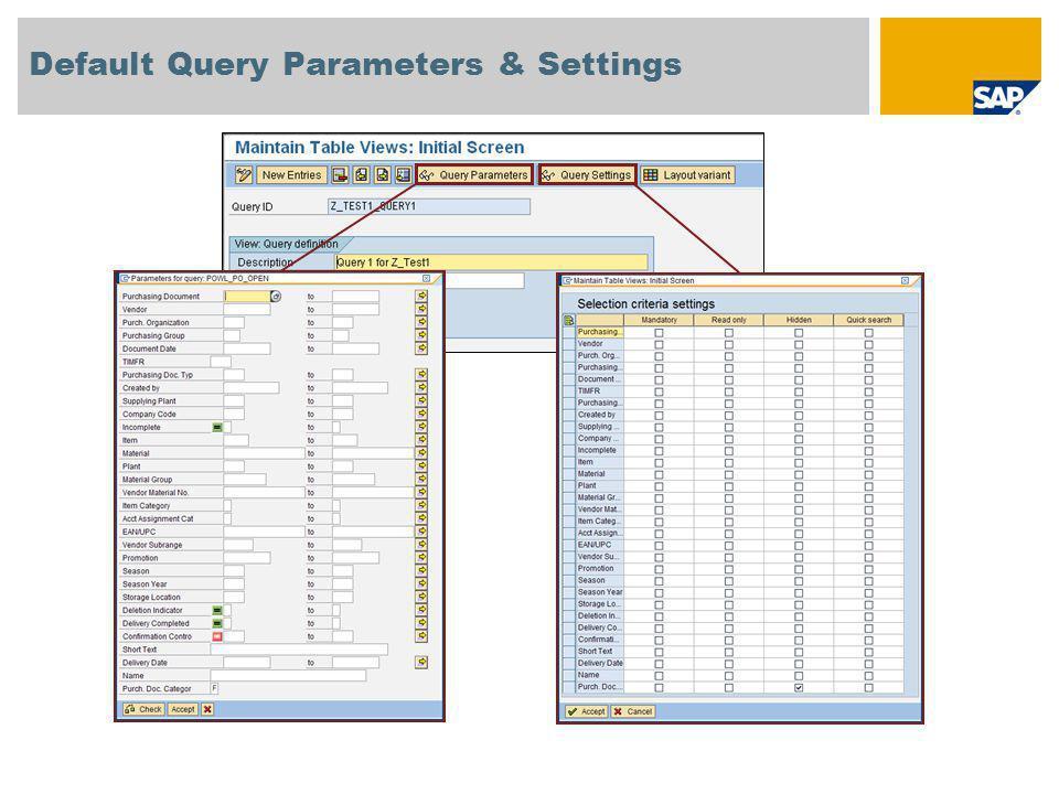 Default Query Parameters & Settings