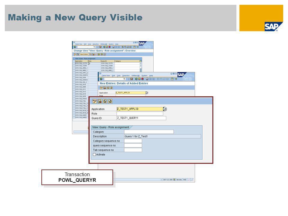 Making a New Query Visible Transaction POWL_QUERYR