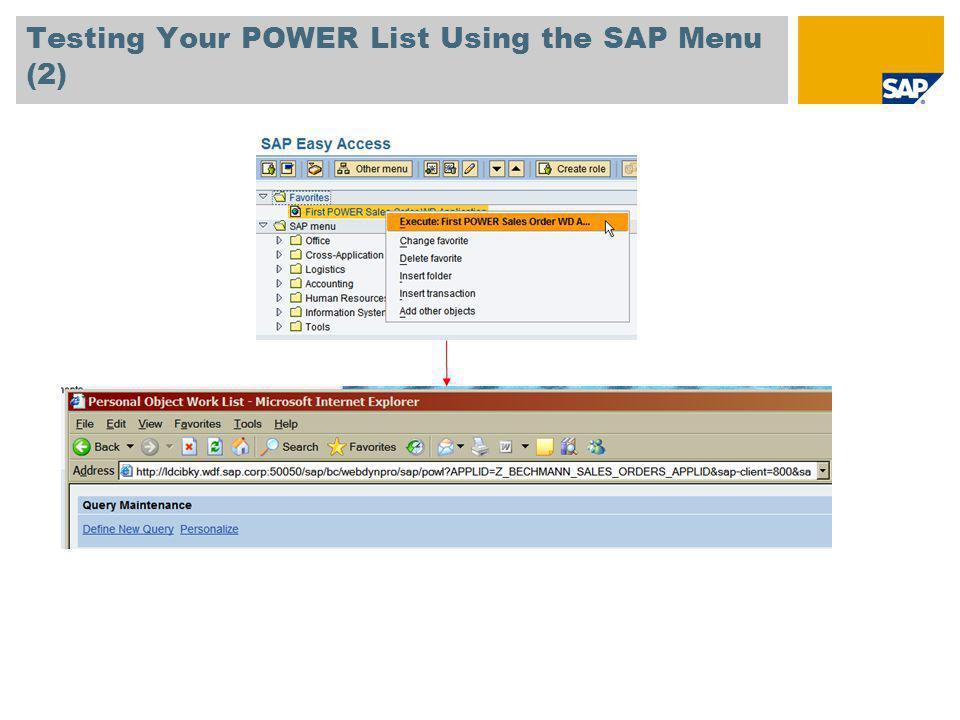 Testing Your POWER List Using the SAP Menu (2)