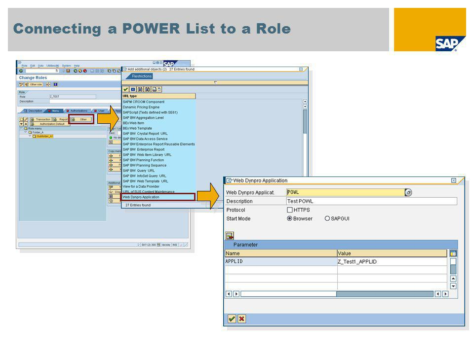 Connecting a POWER List to a Role